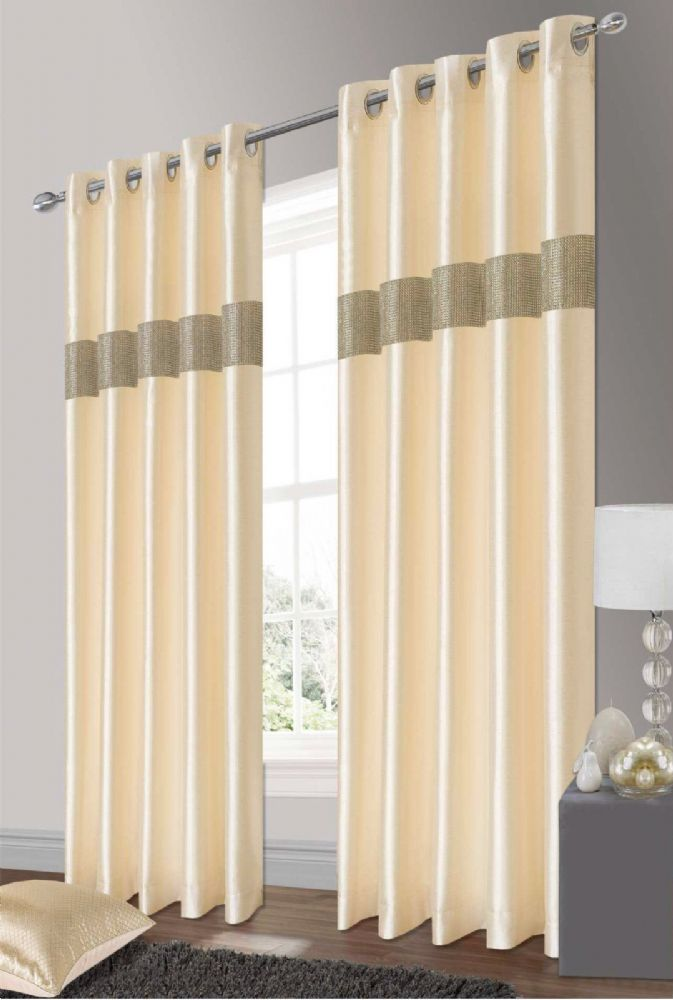 STYLISH ELEGANT DIAMANTE FAUX SILK RINGTOP EYELET FULLY LINED CURTAINS CREAM & SILVER COLOUR